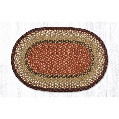 Burgundy/Mustard Braided Area Rug Rug Size: Oval 18 x 26