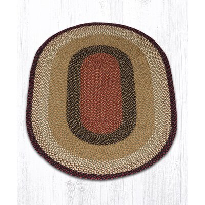 Burgundy/Mustard Braided Area Rug Rug Size: Oval 4 x 6