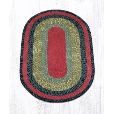 Burgundy/Olive/Charcoal Braided Area Rug Rug Size: Oval 3 x 5