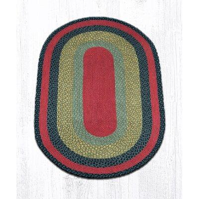 Burgundy/Olive/Charcoal Braided Area Rug Rug Size: Oval 3 x 5