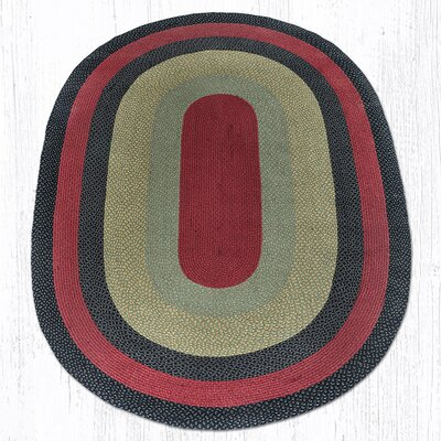 Burgundy/Olive/Charcoal Braided Area Rug Rug Size: Oval 6 x 9