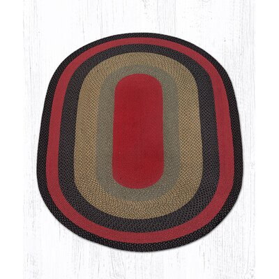 Burgundy/Olive/Charcoal Braided Area Rug Rug Size: Oval 5 x 8