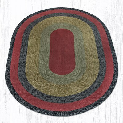 Burgundy/Olive/Charcoal Braided Area Rug Rug Size: Oval 8 x 11