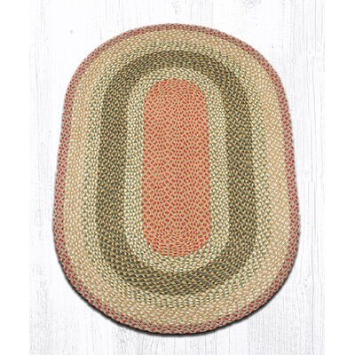 Olive/Burgundy/Gray Braided Area Rug Rug Size: Oval 3' x 5'