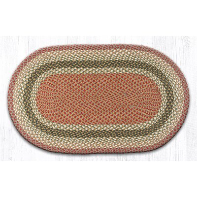 Olive/Burgundy/Gray Braided Area Rug Rug Size: Oval 23 x 39
