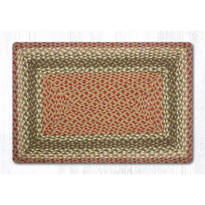 Olive/Burgundy/Gray Braided Area Rug Rug Size: 18 x 26
