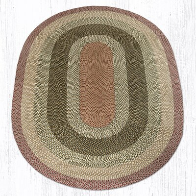 Olive/Burgundy/Gray Braided Area Rug Rug Size: Oval 6 x 9