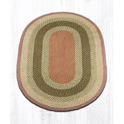 Olive/Burgundy/Gray Braided Area Rug Rug Size: Oval 4' x 6'