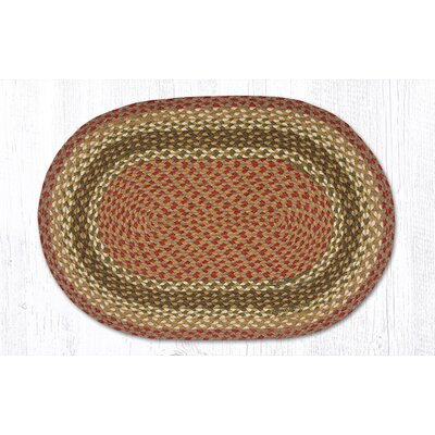 Olive/Burgundy/Gray Braided Area Rug Rug Size: Oval 18 x 26