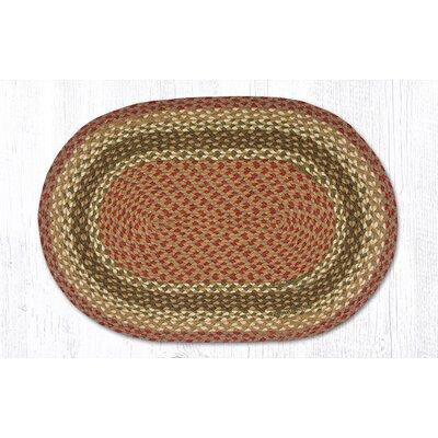Hand-Woven Burgundy/Gray Area Rug Rug Size: Oval 18 x 26