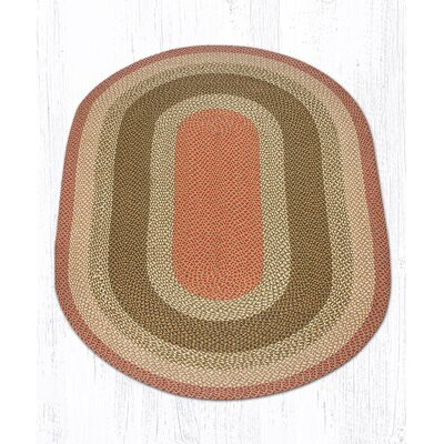 Olive/Burgundy/Gray Braided Area Rug Rug Size: Oval 5' x 8'