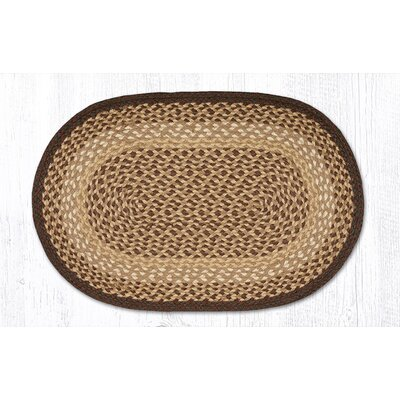 Chocolate/Natural Braided Area Rug Rug Size: Oval 18 x 26