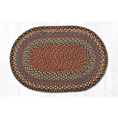 Burgundy/Blue/Gray Braided Area Rug Rug Size: Oval 18 x 26