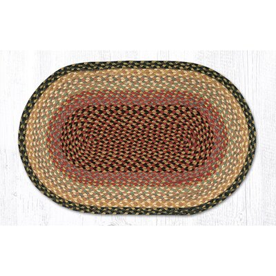 Burgundy/Gray/Cr�me Braided Area Rug Rug Size: Oval 18 x 26