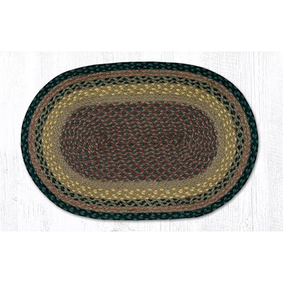 Brown/Black/Charcoal Braided Area Rug Rug Size: Oval 18 x 26