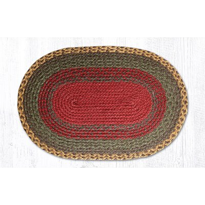 Burgundy/Green/Sunflower Braided Area Rug Rug Size: Oval 18 x 26