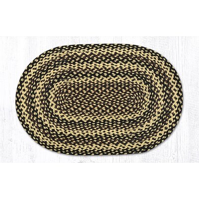 Ebony/Ivory/Chocolate Braided Area Rug Rug Size: Oval 18 x 26