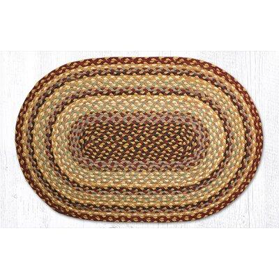 Burgundy/Gray/Cr�me Braided Area Rug Rug Size: Oval 18 x 26