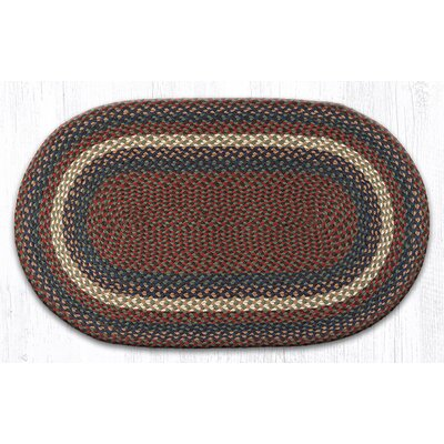 Burgundy/Gray Braided Area Rug Rug Size: Oval 23 x 39