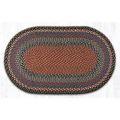 Burgundy/Blue/Gray Braided Area Rug Rug Size: Oval 23 x 39