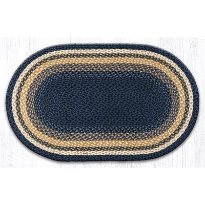 Light Blue/Dark Blue/Mustard Braided Area Rug Rug Size: Oval 23 x 39