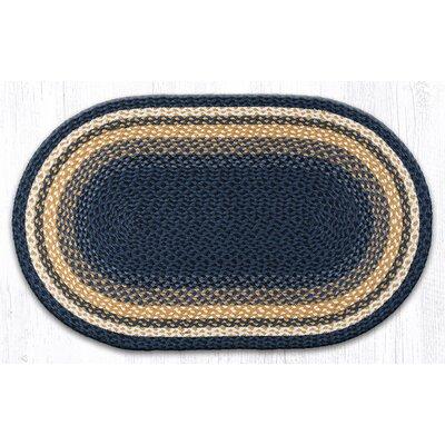 Light Blue/Dark Blue/Mustard Braided Area Rug Rug Size: Oval 23 x 39