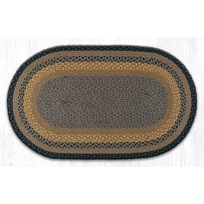 Brown/Black/Charcoal Braided Area Rug Rug Size: Oval 23 x 39