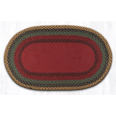 Burgundy/Green/Sunflower Braided Area Rug Rug Size: Oval 23 x 39
