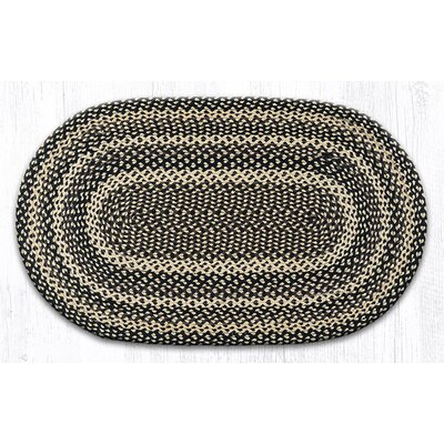 Ebony/Ivory/Chocolate Braided Area Rug Rug Size: Oval 23 x 39
