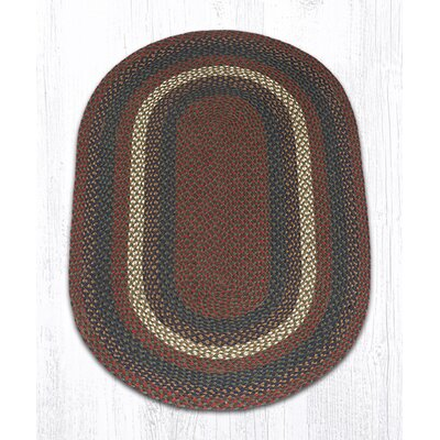Burgundy/Gray Braided Area Rug Rug Size: Oval 3 x 5