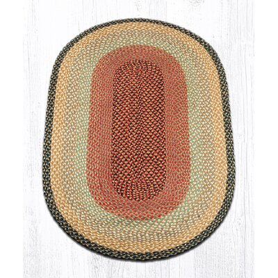 Burgundy/Gray/Cr�me Braided Area Rug Rug Size: Oval 3 x 5