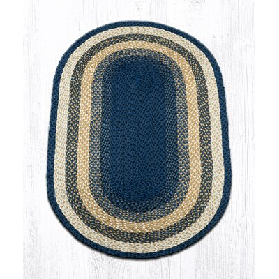 Light Blue/Dark Blue/Mustard Braided Area Rug Rug Size: Oval 3 x 5