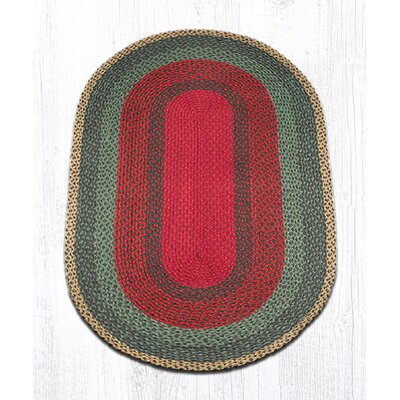 Burgundy/Green/Sunflower Braided Area Rug Rug Size: Oval 3 x 5