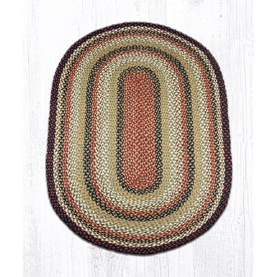Burgundy/Mustard/Ivory Braided Area Rug Rug Size: Oval 3 x 5