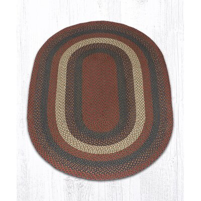Burgundy/Gray Braided Area Rug Rug Size: Oval 4 x 6
