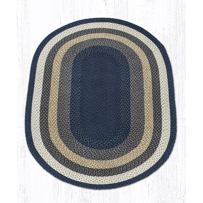 Light Blue/Dark Blue/Mustard Braided Area Rug Rug Size: Oval 4 x 6