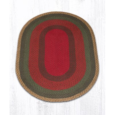 Burgundy/Green/Sunflower Braided Area Rug Rug Size: Oval 4 x 6