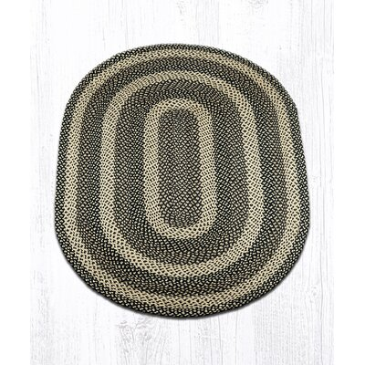 Ebony/Ivory/Chocolate Braided Area Rug Rug Size: Oval 4 x 6