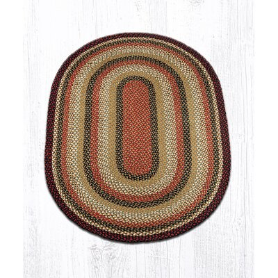 Burgundy/Mustard/Ivory Braided Area Rug Rug Size: Oval 4 x 6