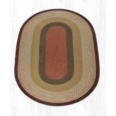 Burgundy/Mustard Braided Area Rug Rug Size: Oval 5 x 8