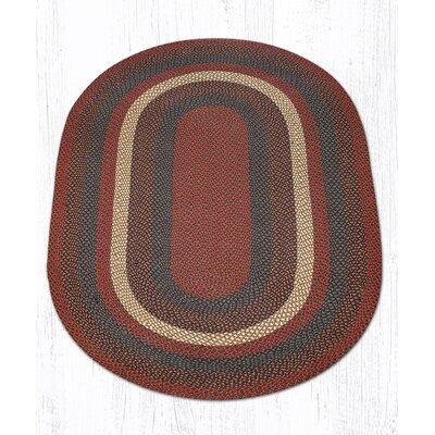 Burgundy/Gray Braided Area Rug Rug Size: Oval 5 x 8