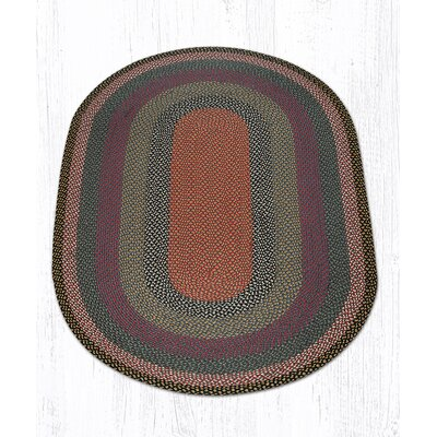 Burgundy/Blue/Gray Braided Area Rug Rug Size: Oval 5 x 8
