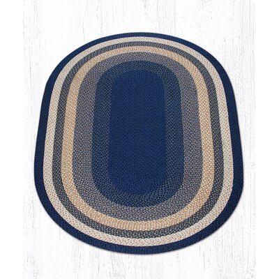 Light Blue/Dark Blue/Mustard Braided Area Rug Rug Size: Oval 5 x 8