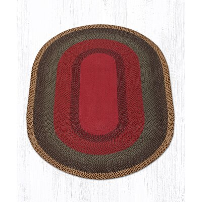 Burgundy/Green/Sunflower Braided Area Rug Rug Size: Oval 5 x 8