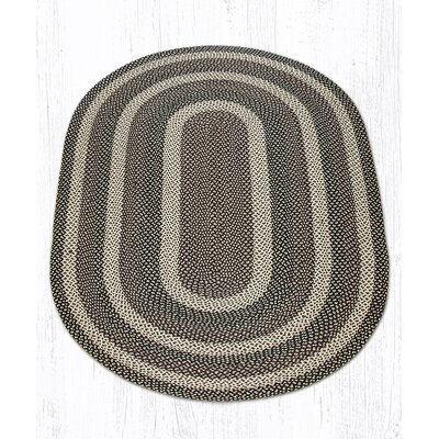 Ebony/Ivory/Chocolate Braided Area Rug Rug Size: Oval 5 x 8