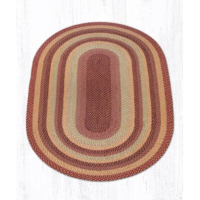 Burgundy/Gray/Cr�me Braided Area Rug Rug Size: Oval 5 x 8