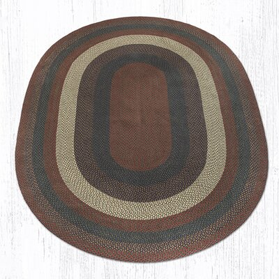 Burgundy/Gray Braided Area Rug Rug Size: Oval 8 x 11
