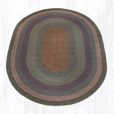 Burgundy/Blue/Gray Braided Area Rug Rug Size: Oval 8 x 11