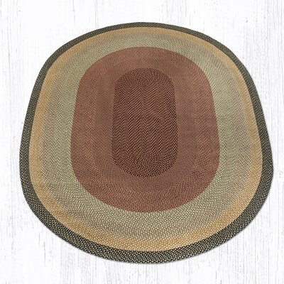Burgundy/Gray/Cr�me Braided Area Rug Rug Size: Oval 8 x 11