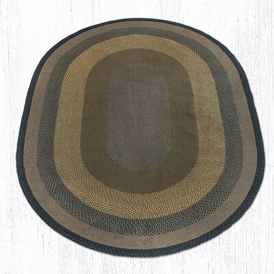Brown/Black/Charcoal Braided Area Rug Rug Size: Oval 8 x 11
